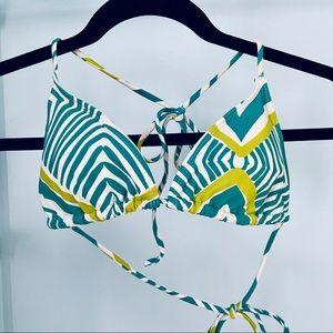 Abstract Print Triangle Bikini Top